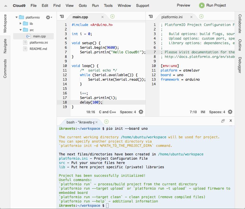 Cloud9 — PlatformIO 4 1 0a1 documentation