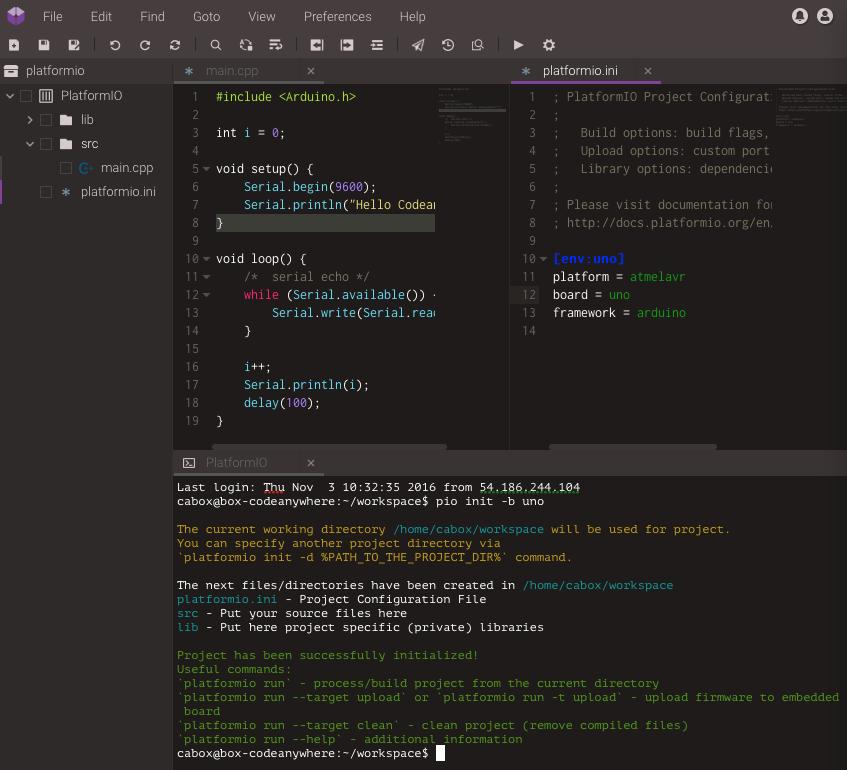 Codeanywhere — PlatformIO 4 0 1b3 documentation