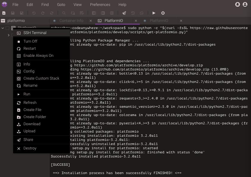 Codeanywhere — PlatformIO 4 1 0b1 documentation